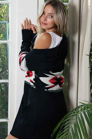 WK2765   AZTEC PATTERN KNITTED SWEATER CARDIGAN