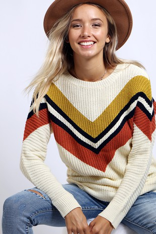 WK2683   MULTI COLOR V SHAPE  CASUAL KNIT SWEATER