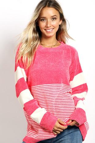 WK2601 Super soft velvet knitted sweater