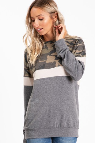 TC2180 CAMOUFLAGE  COLOR BLOCK TOP