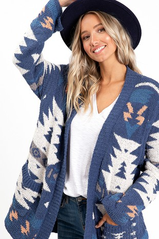 WK2771 AZTEC PATTERN KNITTED SWEATER CARDIGAN
