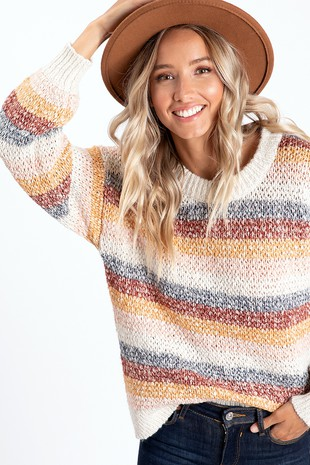 WK2773 . MULTI COLOR STIPE KNITTED SWEATER