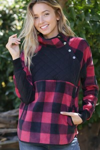 WQ3997  PLAID FLEECE SHERPA PULL OVER JACKET