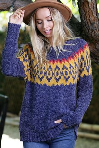 WK2795  AZTEC PATTERN KNITTED SWEATER