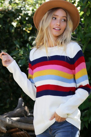 WK2800 MULTI COLOR STRIPE KNIT SWEATER 004