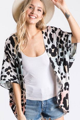 TG2848  MULTI COLOR LEOPARD PRINT CARDIGAN
