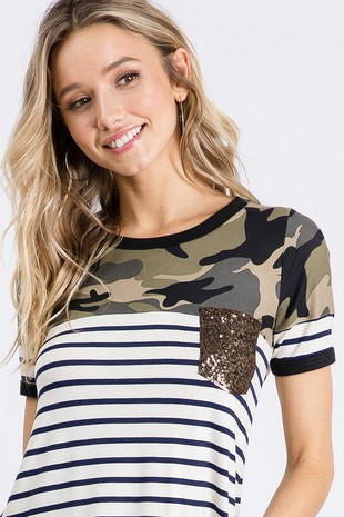 TB2868  CAMOUFLAGE  STRIPE  CONTRAST  TOP