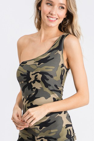 TA2876  CAMOUFLAGE ONE SHOULDER STRAP TOP-Clone