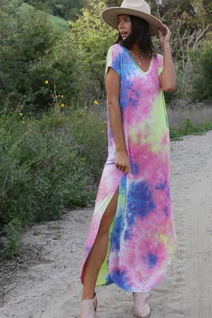 DB5454 MULTI COLOR TIE DYE MAXI DRESS-Clone