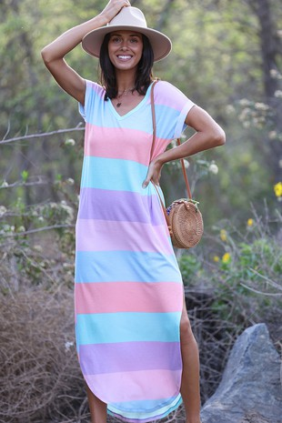 DB5452  MULTI COLOR STRIPE MAXI DRESS-Clone