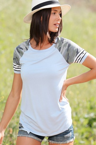 TB2894 CAMOUFLAGE  AND STRIPE TOP-04-Clone