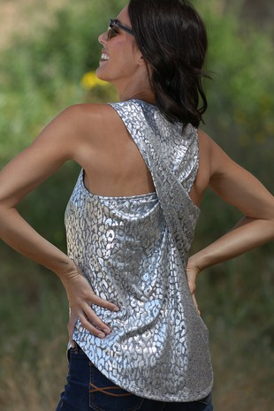 TA1819-5  SILVER FOIL SLEEVELESS TOP BACK 05