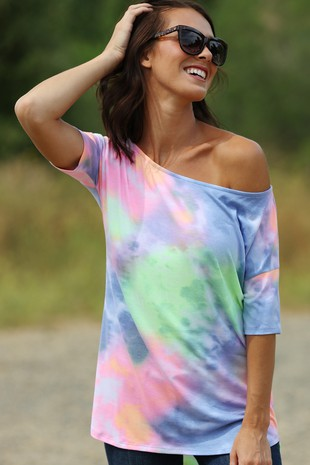 TB2918 MULTI COLOR TIE DYED PRINT BOAT NECK TOP 2