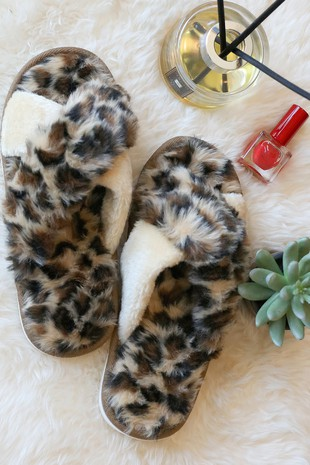 SL0013  HIGH QUALITY LEOPARD  FAUX FUR SLIPPERS