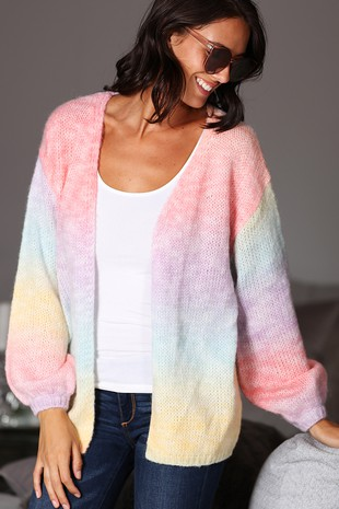 WK4107  MULTI  COLOR COMBINATION KNITTED CARDIGAN