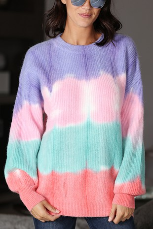WK4103  SUPER SOFT HAND TIE DYED KNIT SWEATER