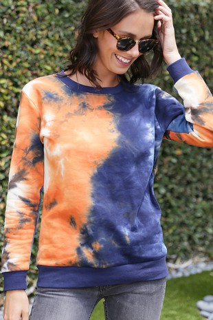 WK4104 MULTI COLOR HAND TIE DYED KNIT SWEATER