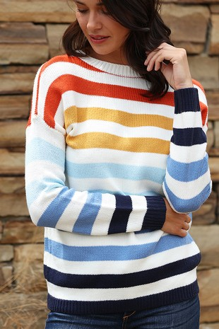 WK4106 MULTI COLOR STRIPE KNITTED SWEATER