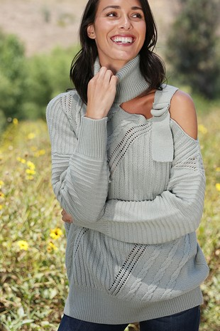 WK4114  TURTLE NECK SWEATER ONE SHOULDER STRAP