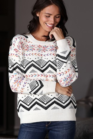 WK4149 AZTEC  PATTERNED KNITTED SWEATER