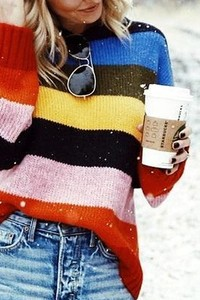 WK0900 MULTI COLOR STRIPE KNITTED SWEATER 4