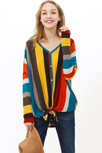 TC1892 MULTI COLOR STRIPE TOP WITH FRONT TIE