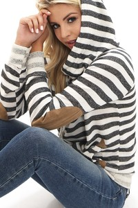 TC1394  COWL NECK HOODIE WITH STRIPE TERRY 3