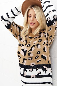 WK2809 LEOPARD AND STRIPE KNITTED SWEATER 2019