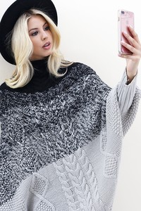 WK2999 CAPE STYLE KNIT  SWEATER 2
