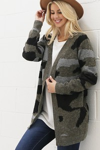 WK2818 CAMOUFLAGE KNITTED SWEATER CARDIGAN 2
