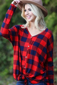 TC1999  SOFT PLAID FABRIC TOP WITH FRONT TIE