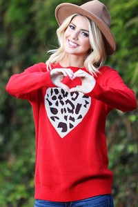 WK2406   Heart with Leopard Knitted top 2
