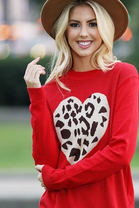 WK2406   Heart with Leopard Knitted top
