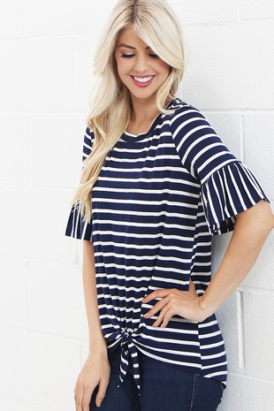 TC2053  STRIPE RUFFLE TOP WITH FRONT TIE