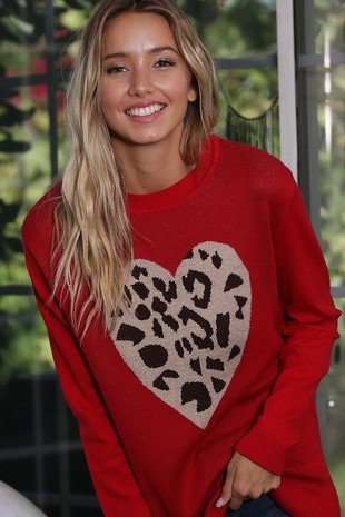 WK2406   HEART PATTERNED KNITTED SWEATER